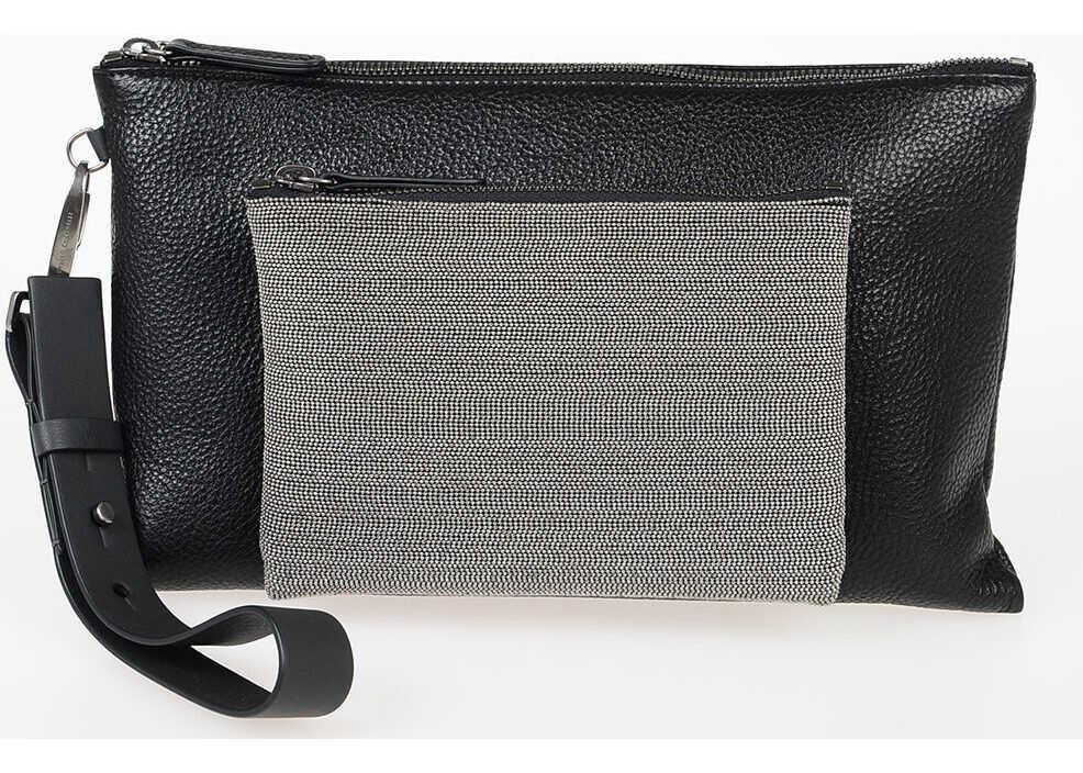 Brunello Cucinelli Leather Wristlet Bag BLACK