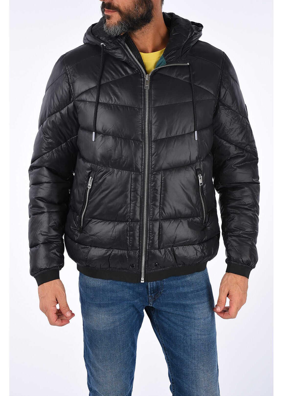 Diesel Hooded GARRETT Puffer Jacket BLACK imagine