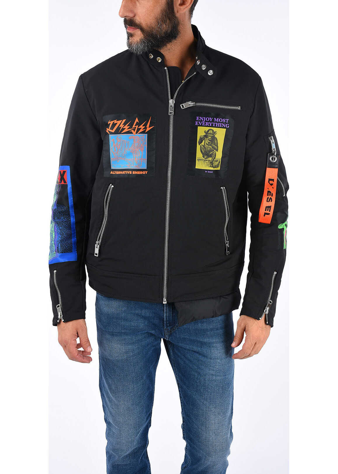 Diesel Embroidered YONG Jacket BLACK