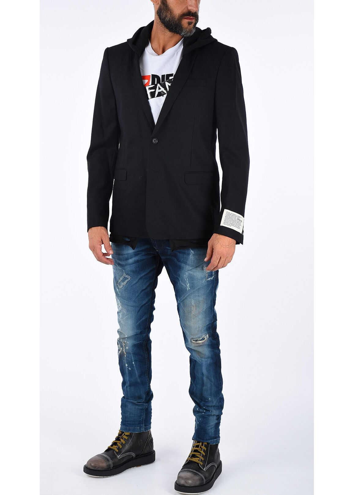 Diesel Wool Hooded J-TROUBLE Coat BLACK