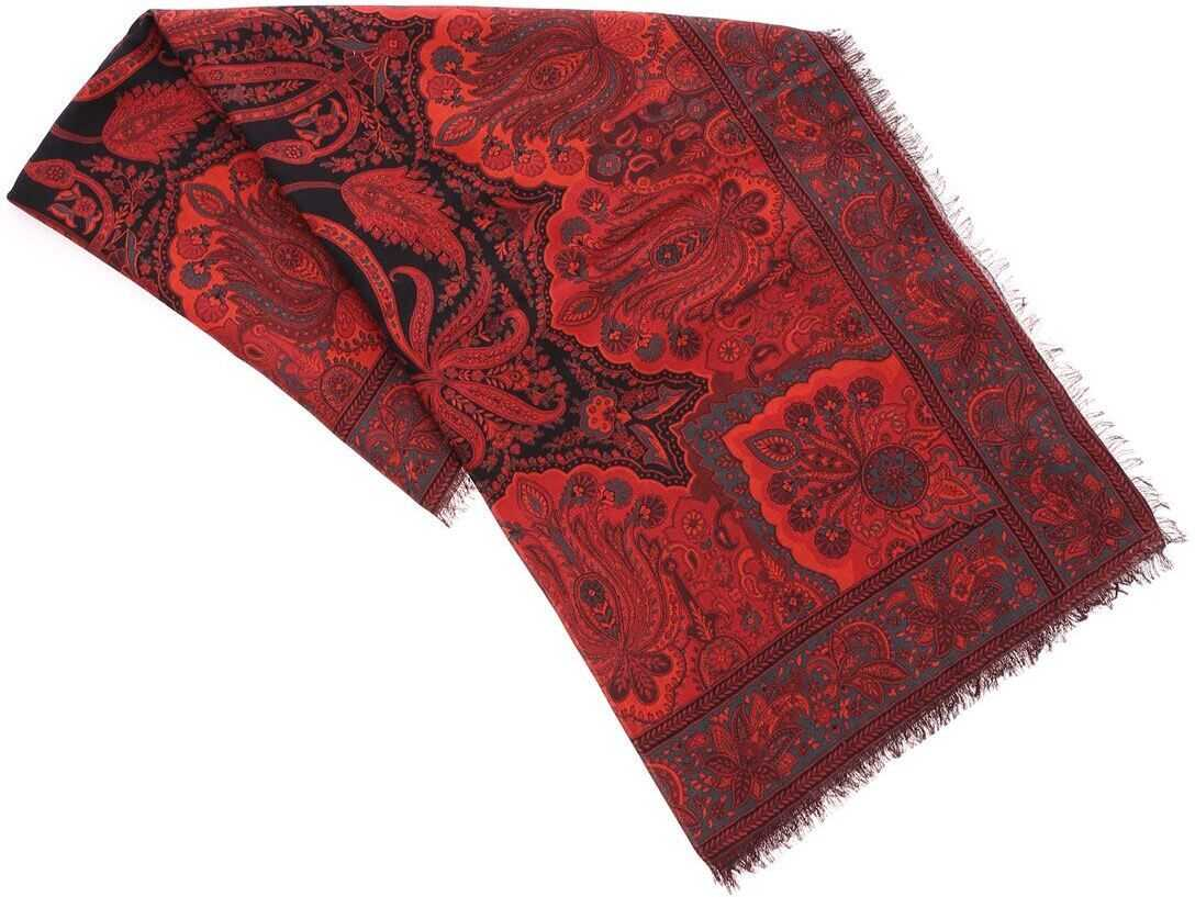 ETRO Printed Red Scarf Red