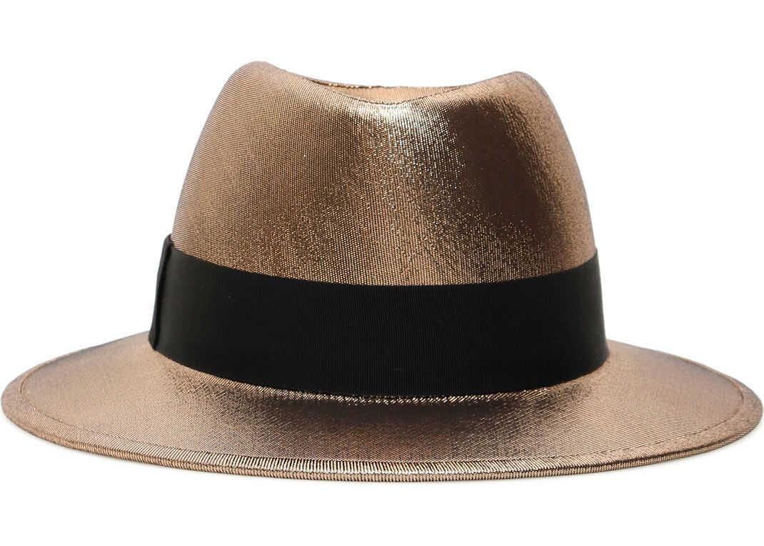 Saint Laurent Lame' Fedora Hat GOLD