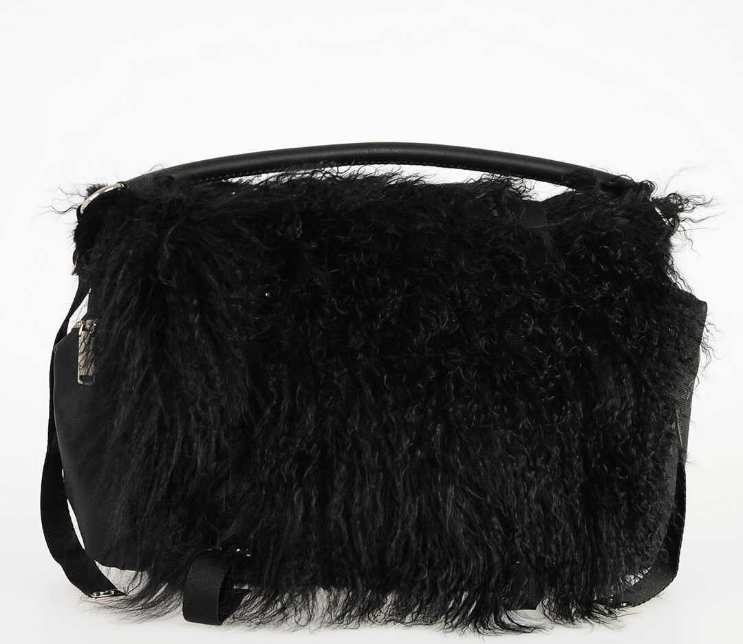 DSQUARED2 Real Fur Bag BLACK imagine b-mall.ro