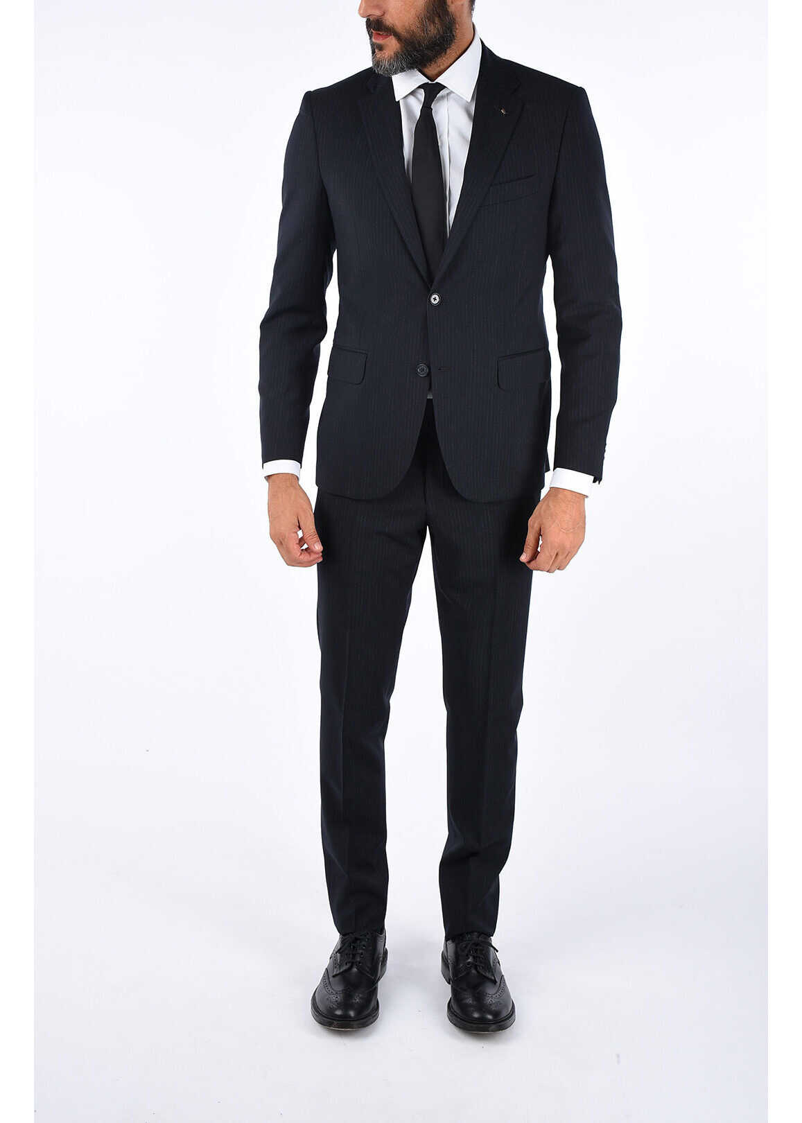 CORNELIANI CC COLLECTION Pinstriped RIGHT Suit MIDNIGHT BLUE