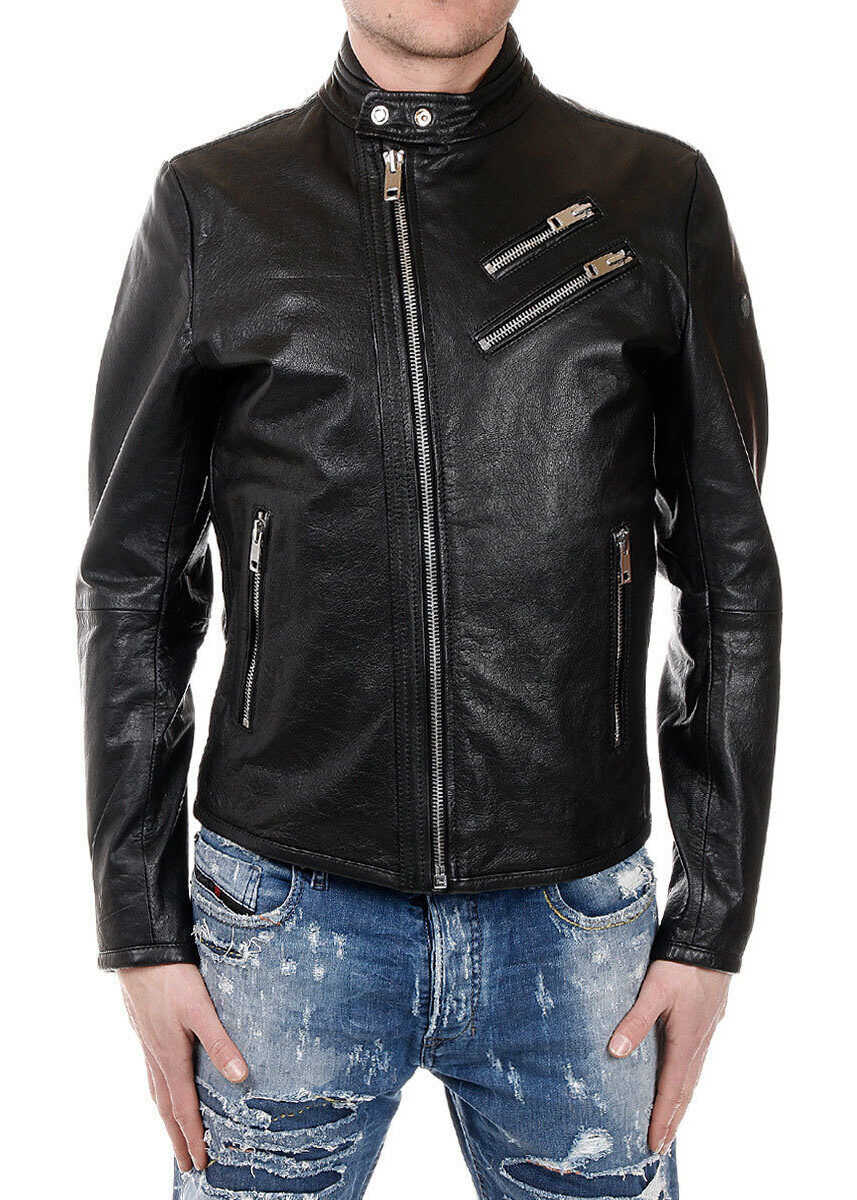 Diesel L-OYTON Leather Jacket with Zip Details BLACK