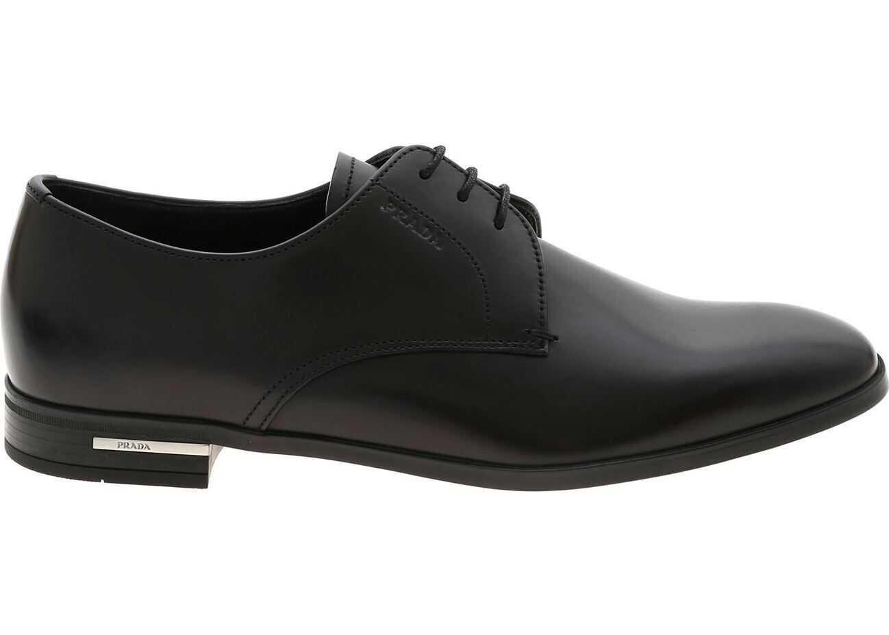 Prada Derby Shoes In Black With Logo Detail Black