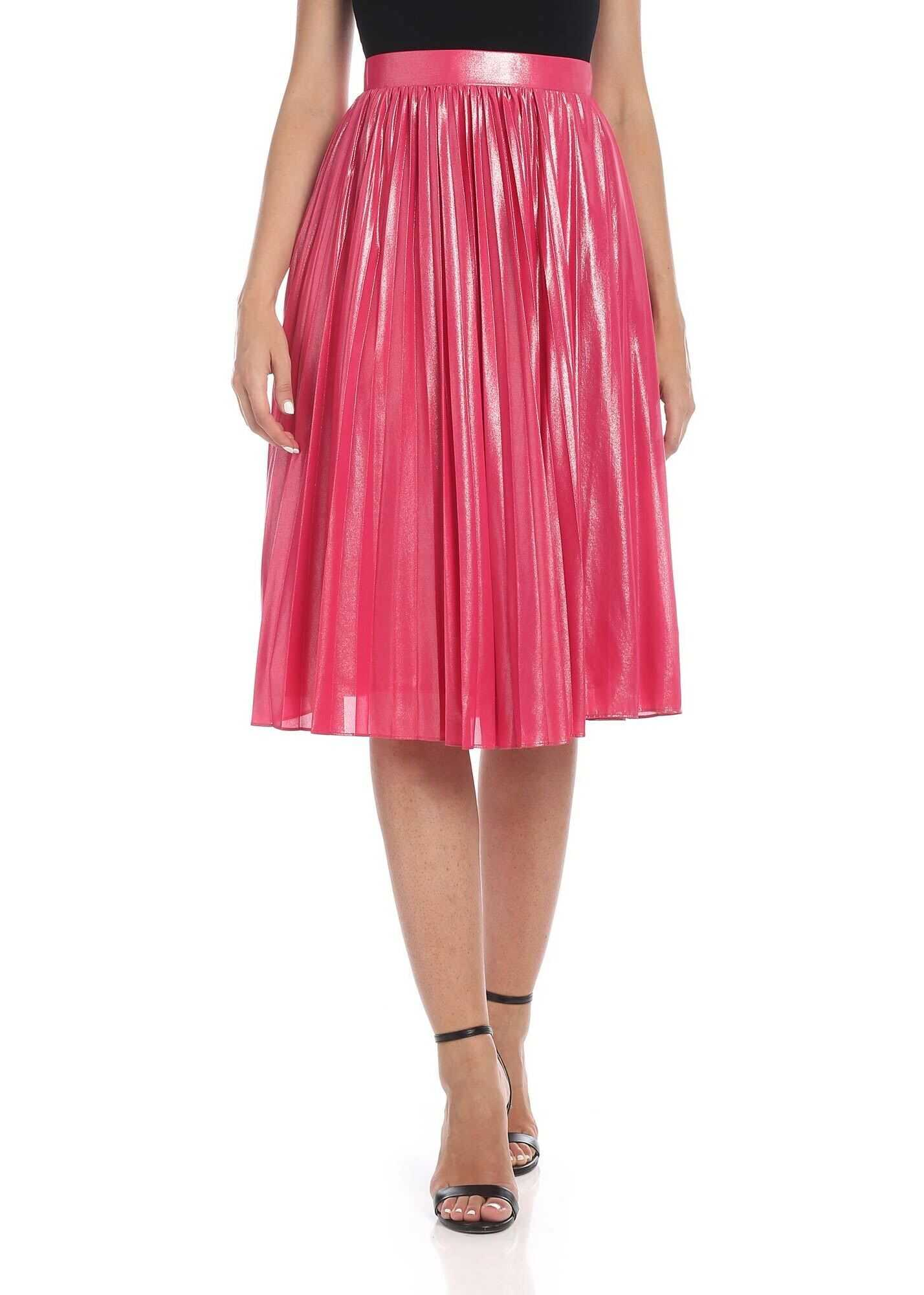 Pinko Obbedire Skirt In Laminated Fuchsia Fuchsia