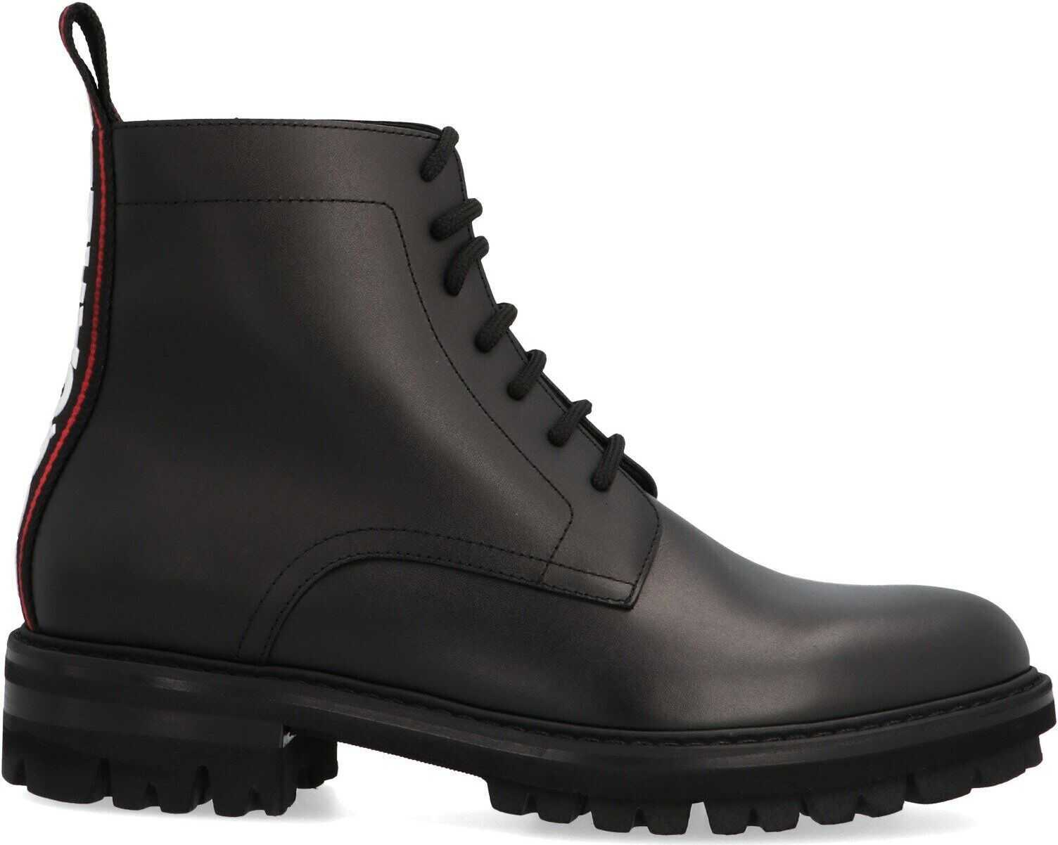 DSQUARED2 Leather Ankle Boots BLACK