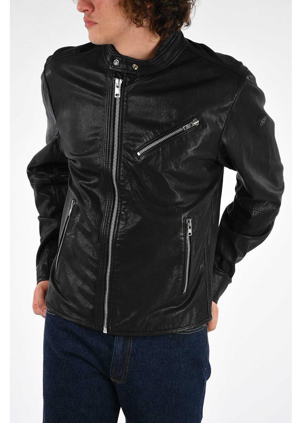 Diesel Leather RAMYTON Jacket BLACK imagine