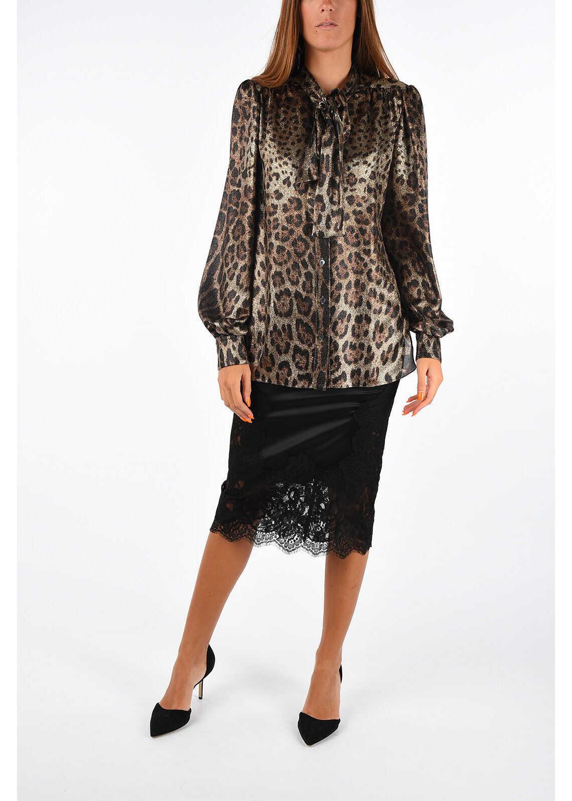 Silk Blend Leopard Printed Blouse