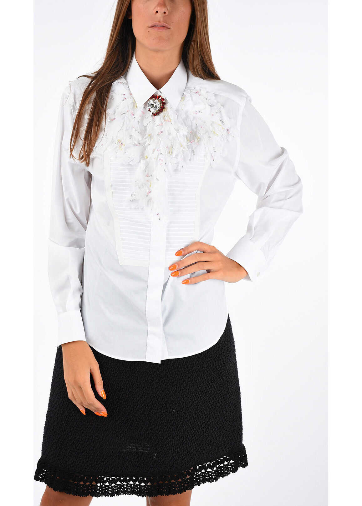 Dolce & Gabbana Silk and Cotton Shirt with Jewel Embroidery WHITE