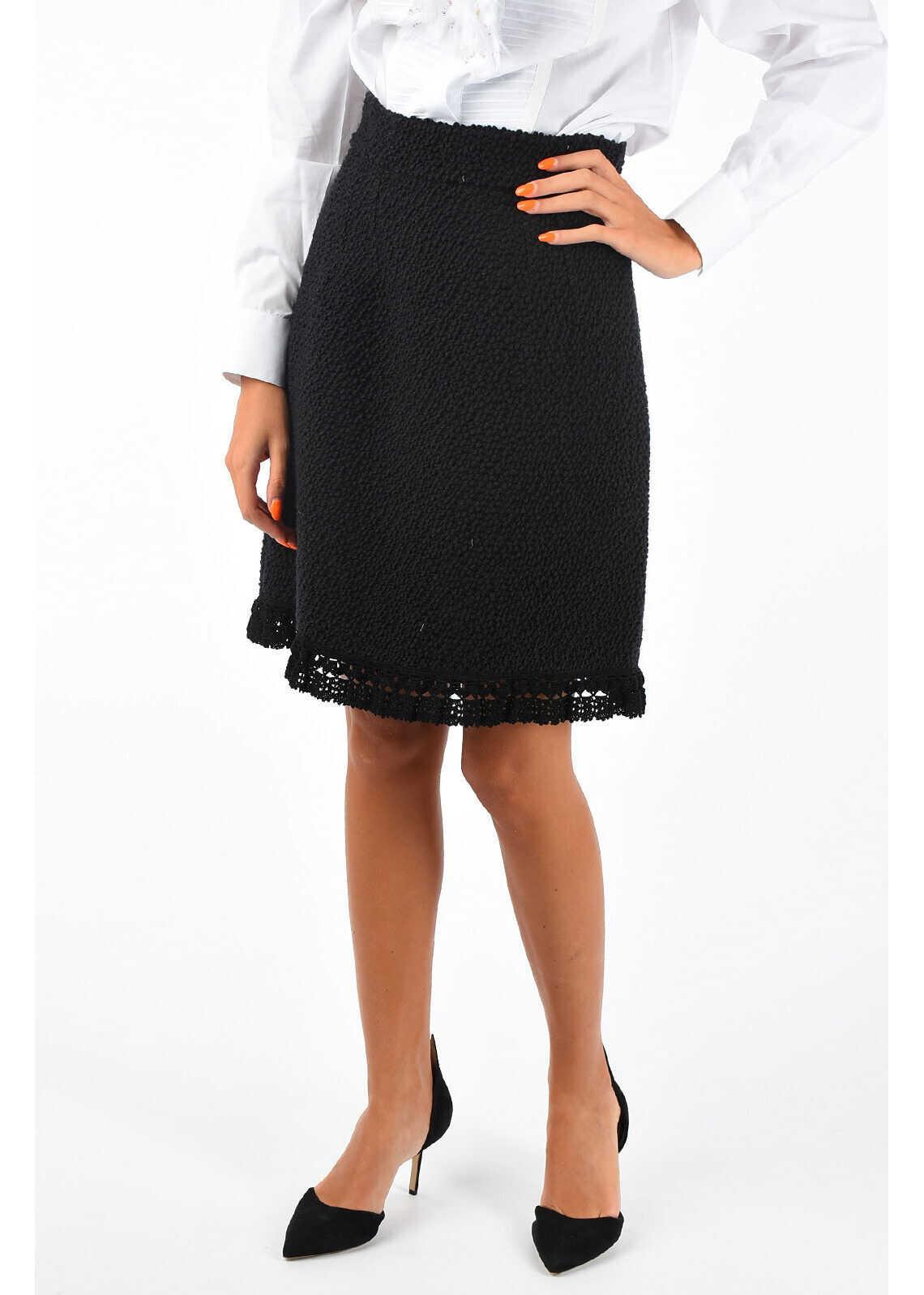 Dolce & Gabbana Silk and Virgin Wool Skirt BLACK