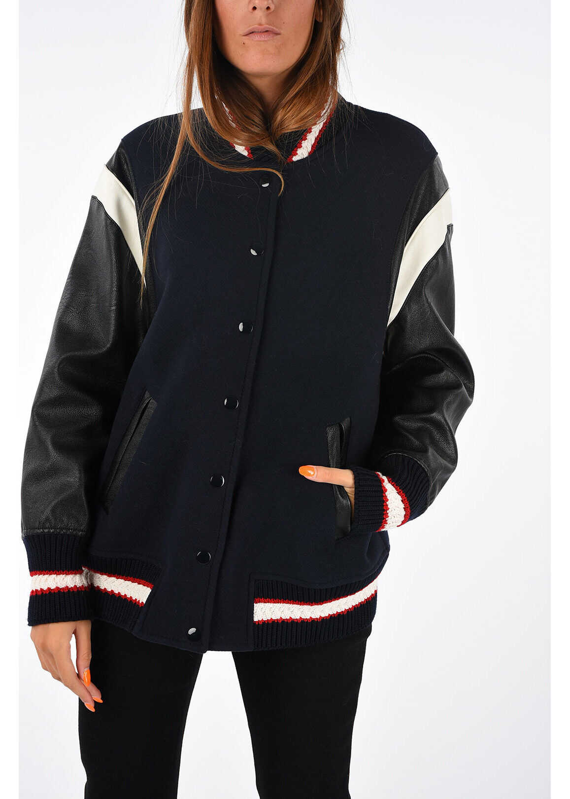 adidas by Stella McCartney Wool Embroidered Bomber BLUE