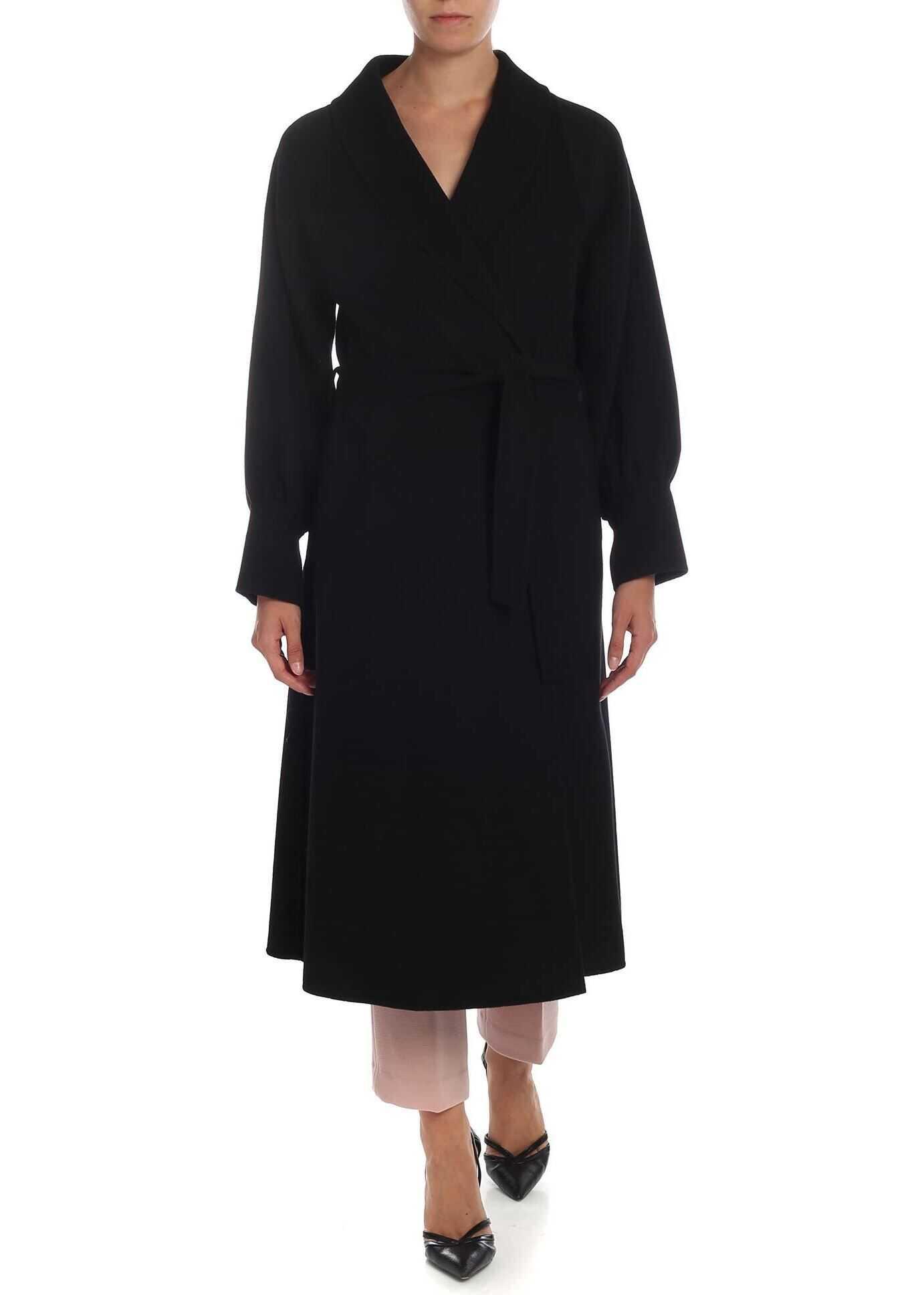 L'Autre Chose Shawl Lapels Coat In Black Black