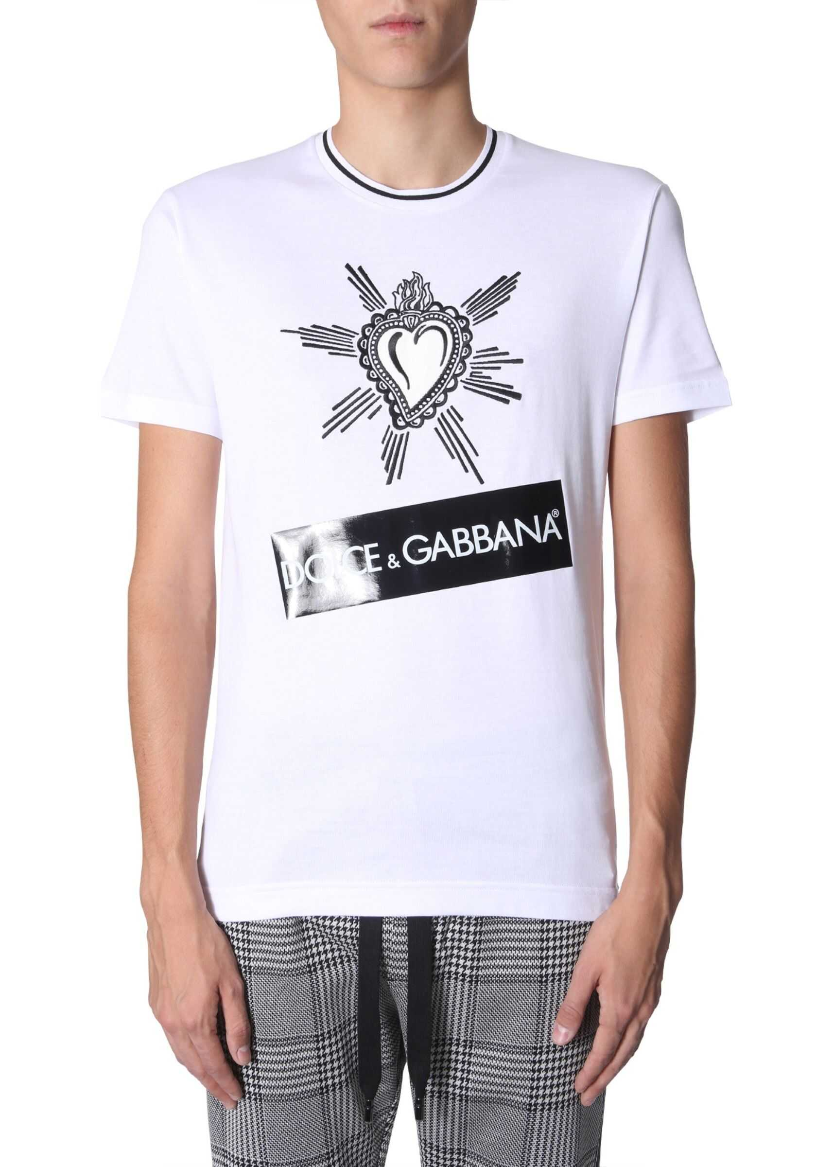 Dolce & Gabbana Heart Embroidered T-Shirt WHITE