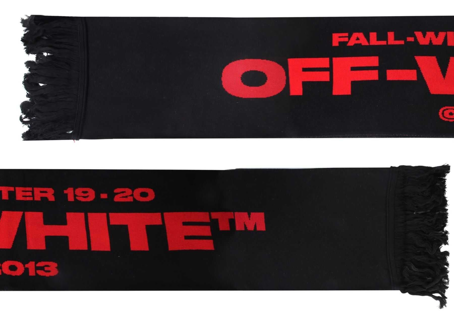 Off-White Bats Scarf With Fringes BLACK