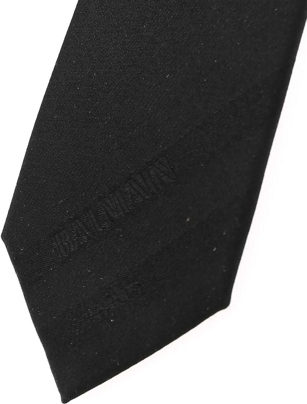 Balmain Black Silk Tie With Logo Black