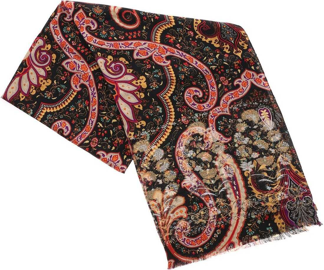 ETRO Black Scarf With Multicolor Print Multi