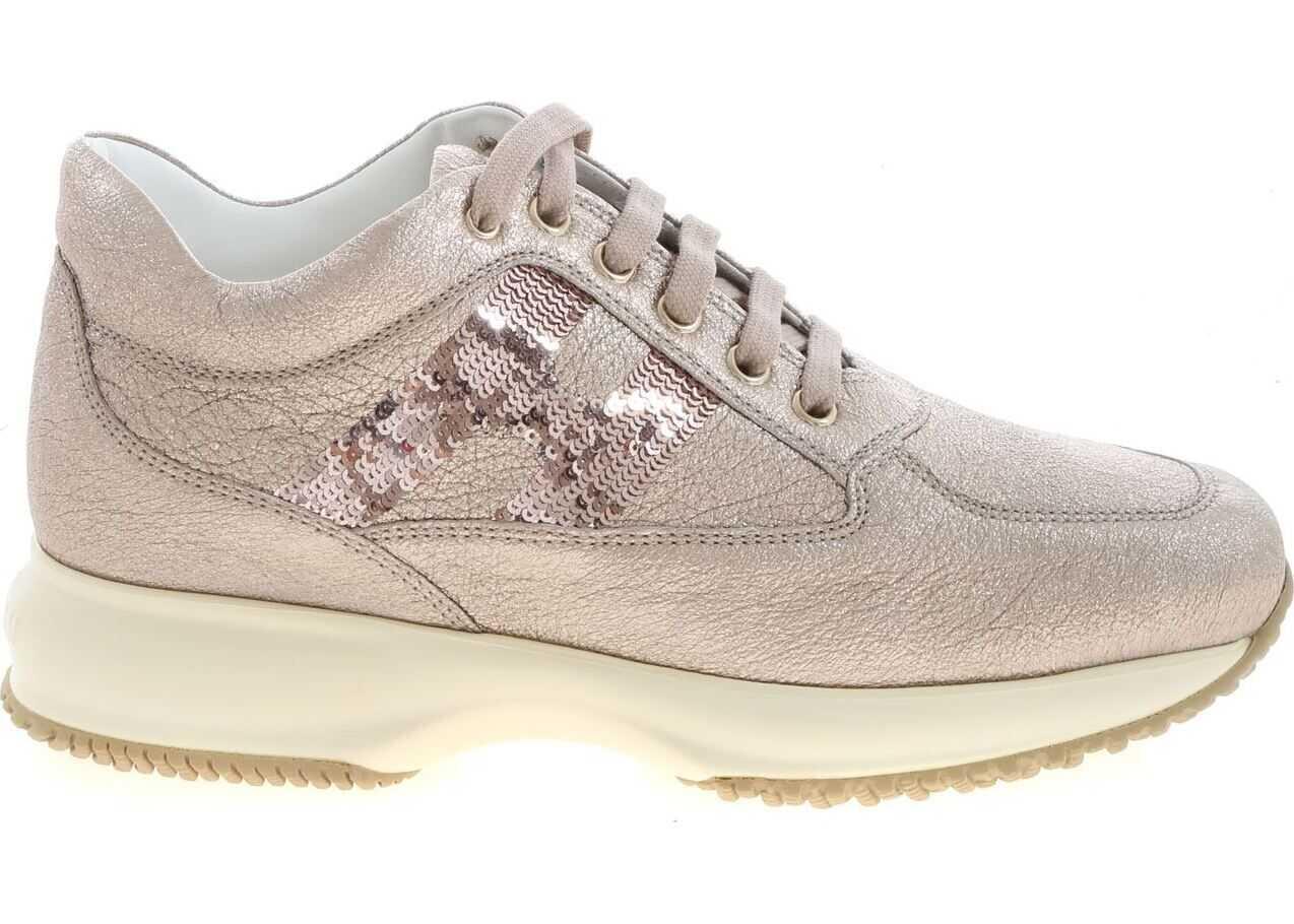 Hogan Laminated Interactive Sneakers In Pink Pink