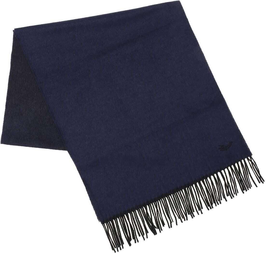 Ermenegildo Zegna Blue And Black Silk Scarf Blue