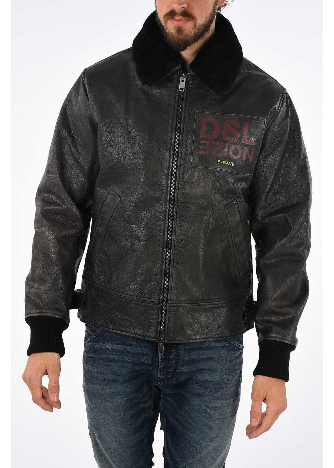 Diesel Leather L-BOWDRE-PAINT Jacket BLACK imagine