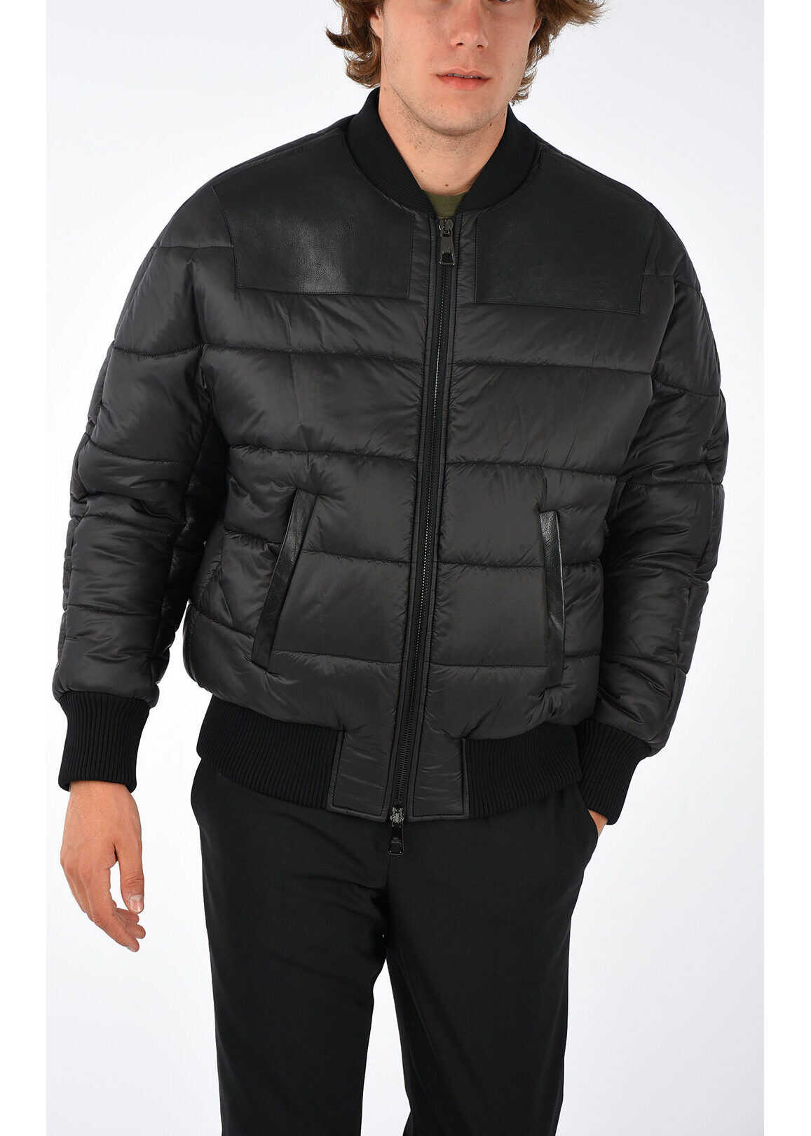 Neil Barrett Nylon and Leather Bomber BLACK