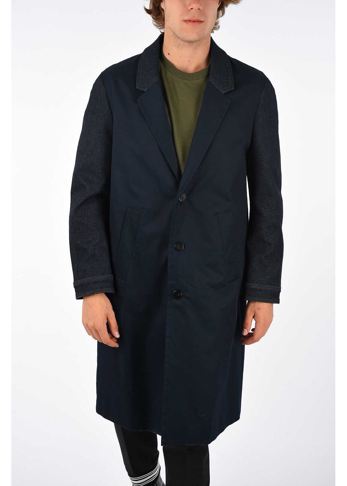 Neil Barrett Stretch Denim Coat BLUE