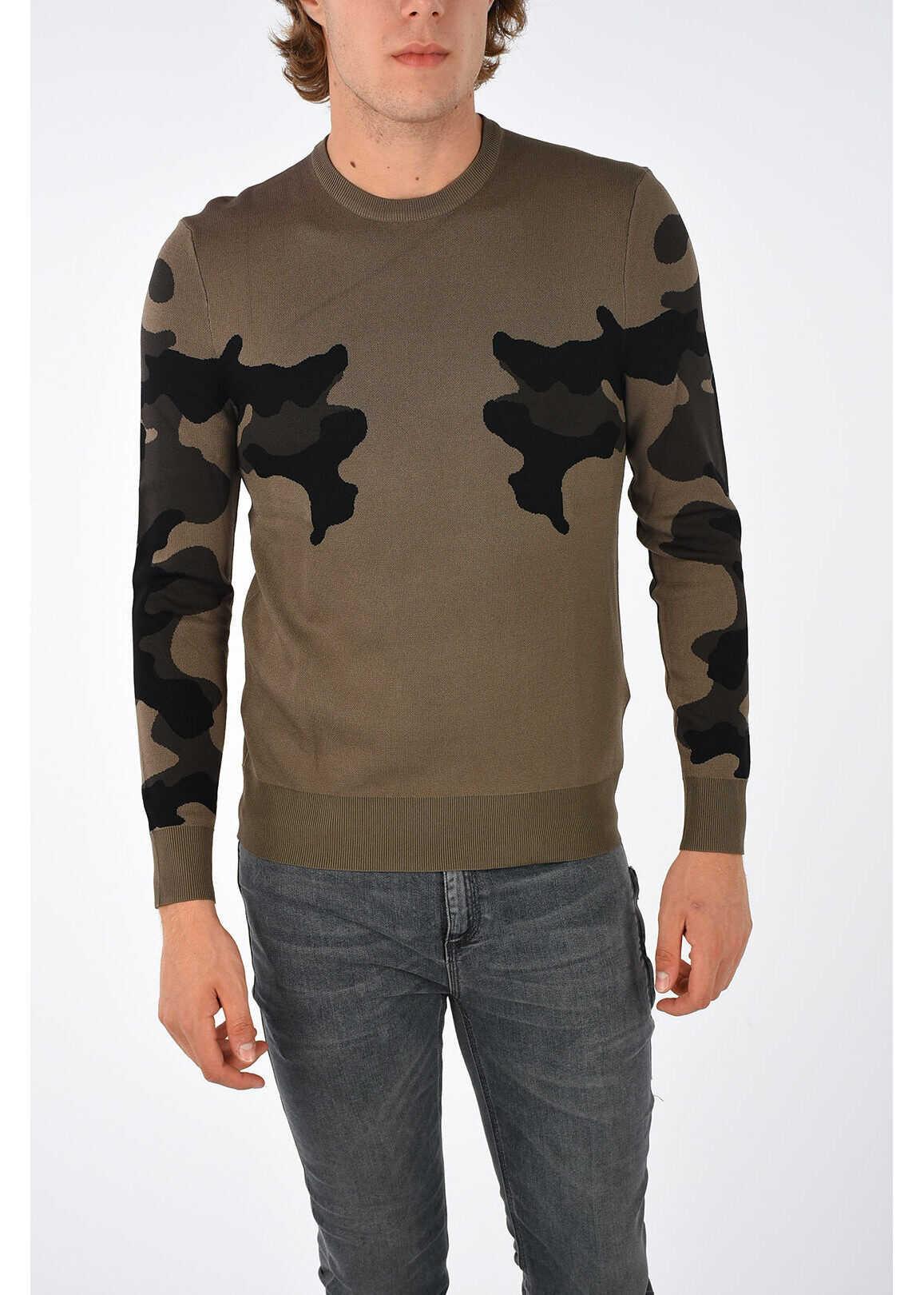 Neil Barrett Camouflage Crewneck Sweater BROWN