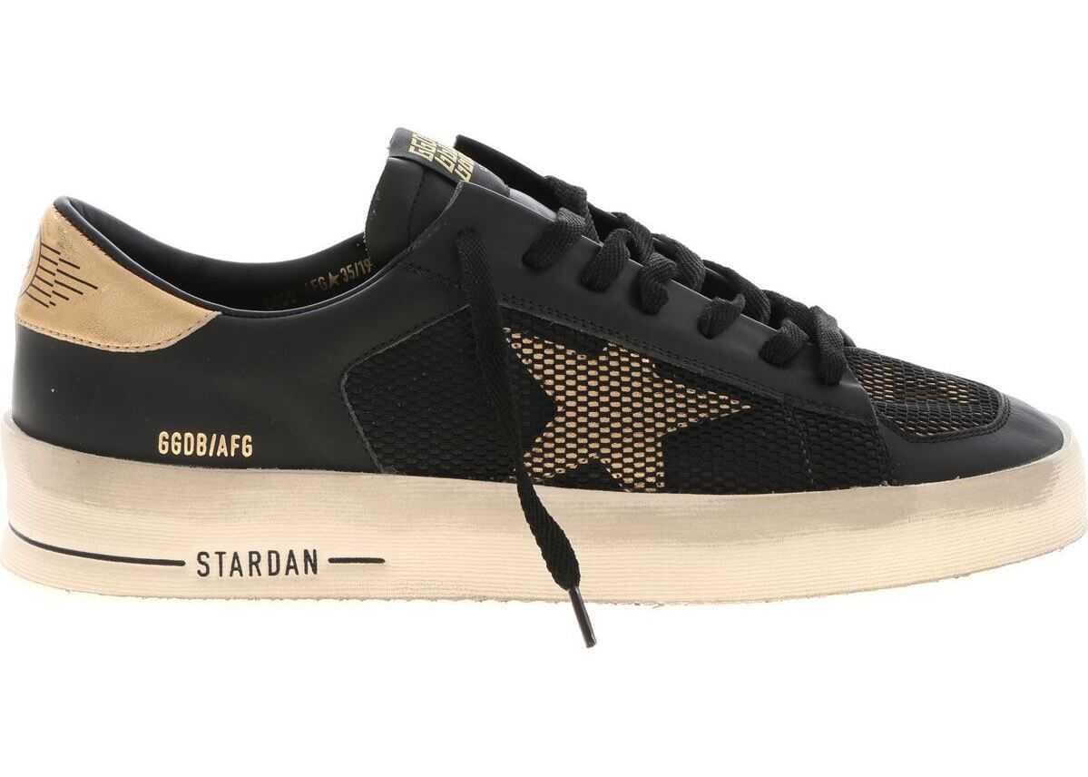 Golden Goose Stardan Sneakers In Black And Gold Black
