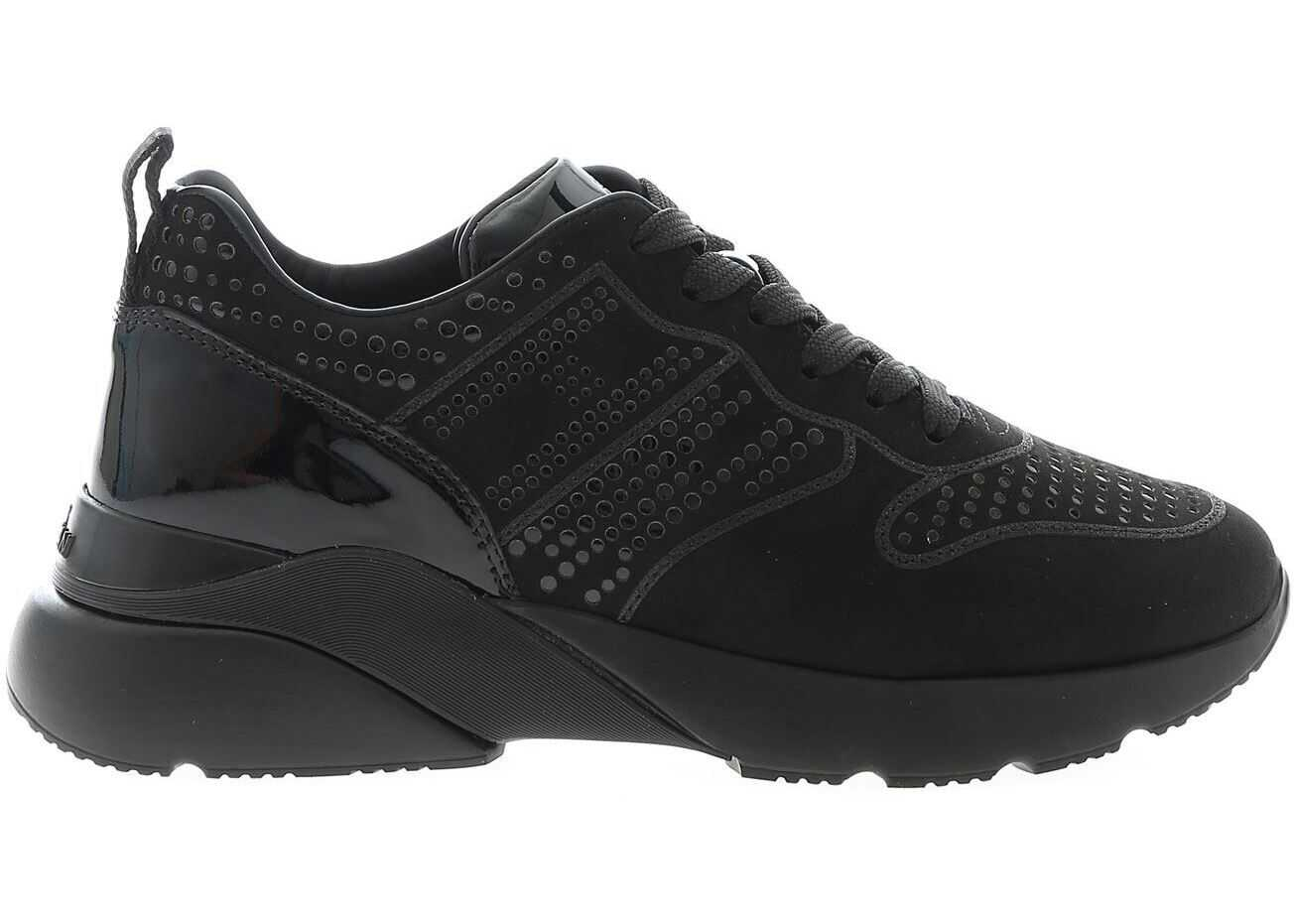 Hogan One Sneakers With Polish Effect Details Black