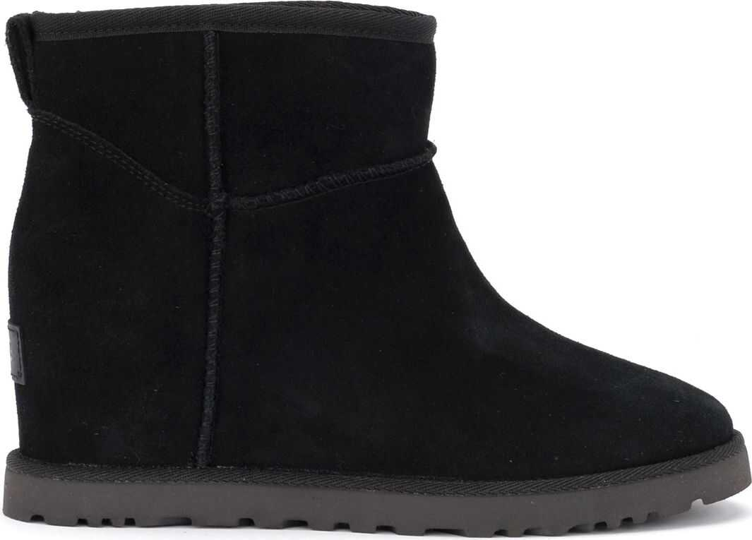 UGG Classic Femme Mini Ankle Boot In Black In Sheepskin And Suede Black