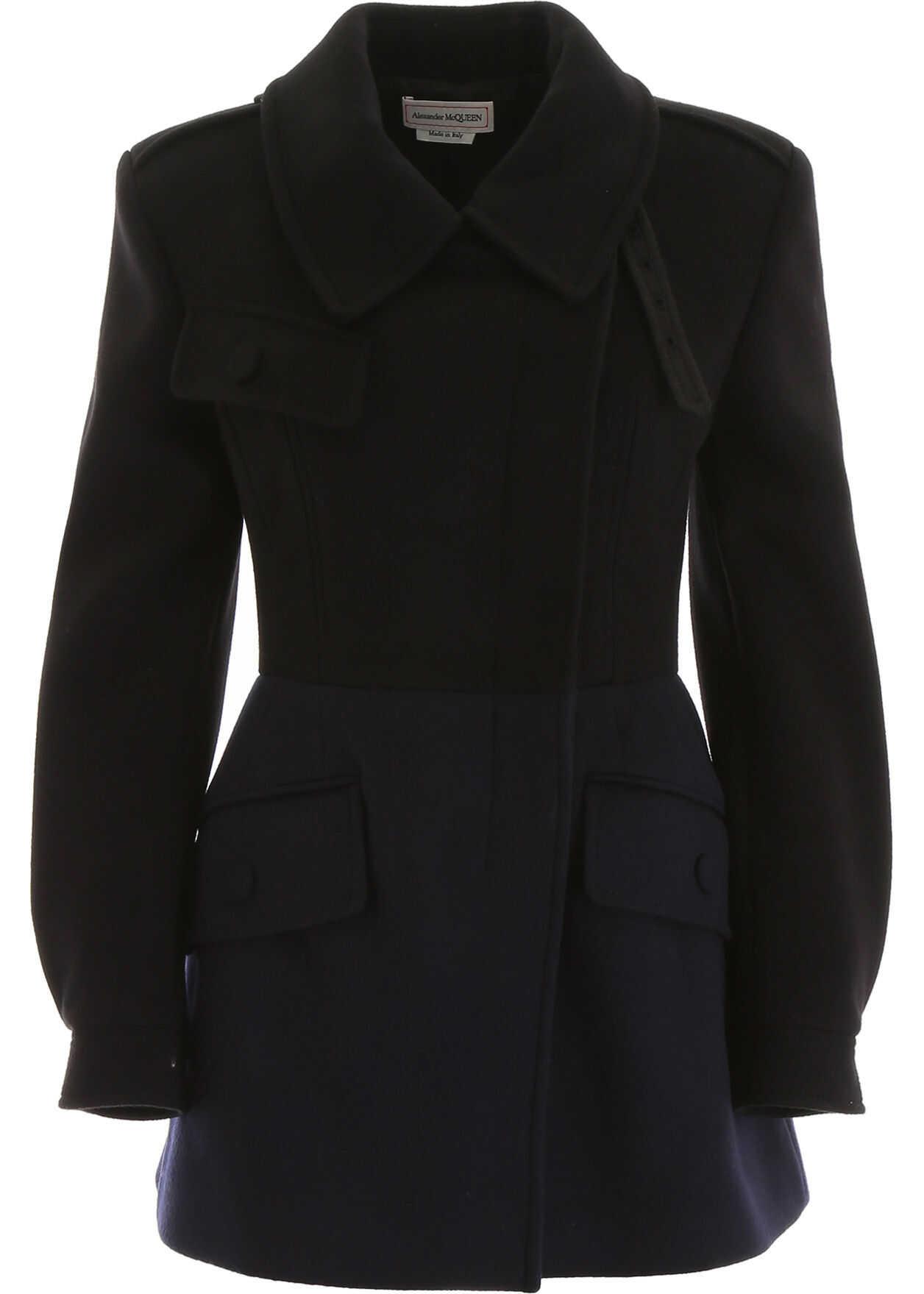 Alexander McQueen Bicolor Coat BLACK NAVY