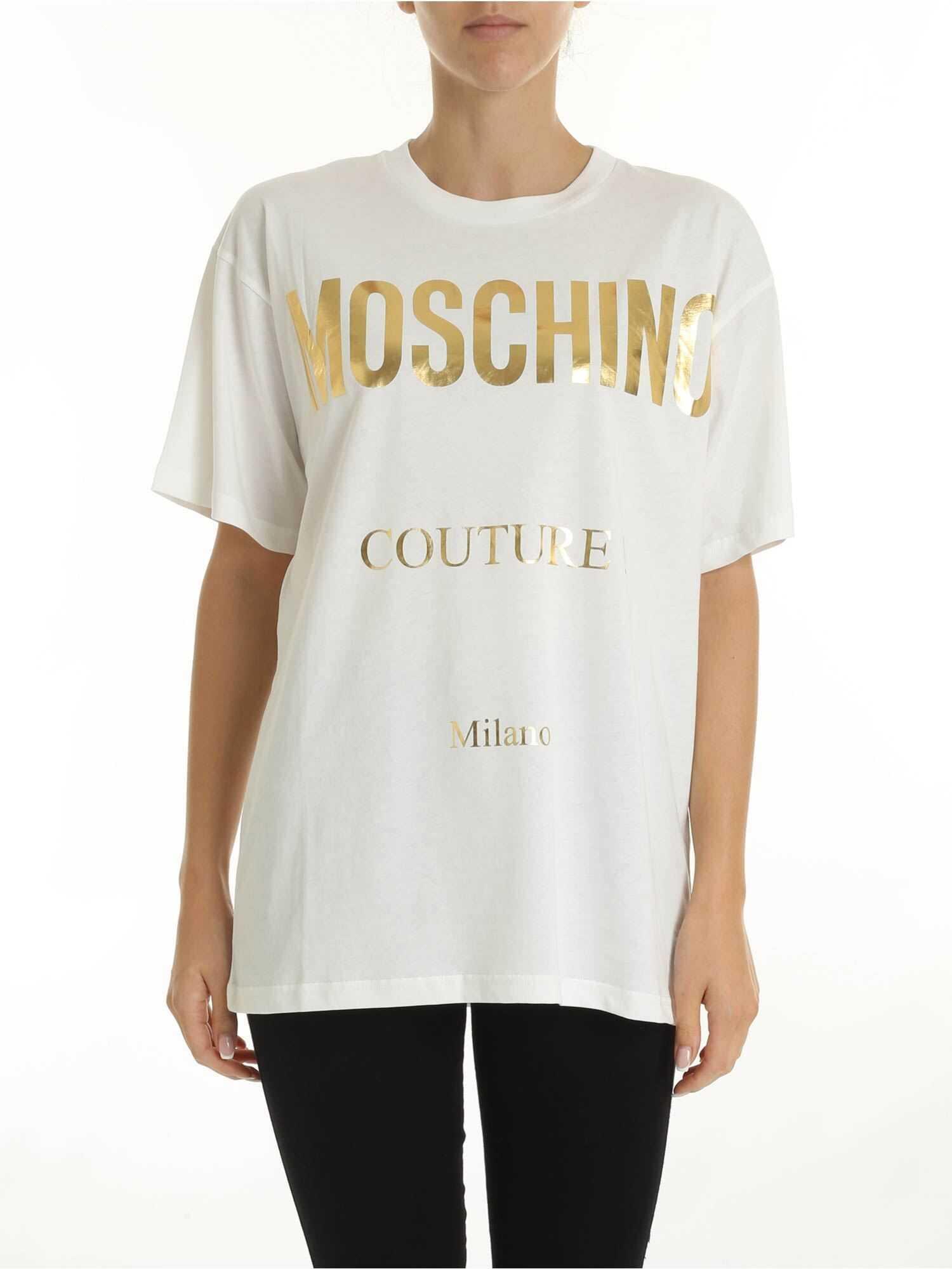 Golden Logo Oversized T-Shirt In White thumbnail