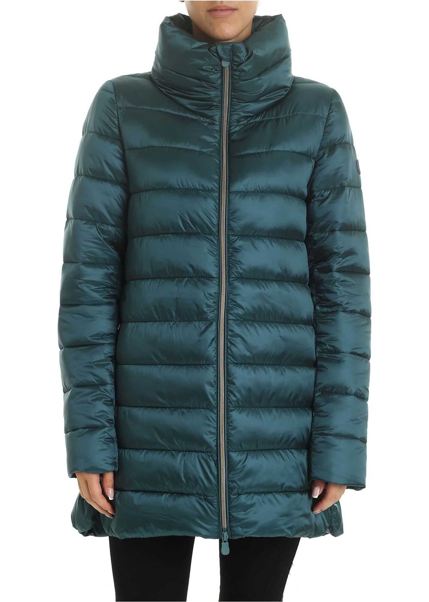 Save the Duck Logo Patch Long Down Jacket In Emerald Green Green