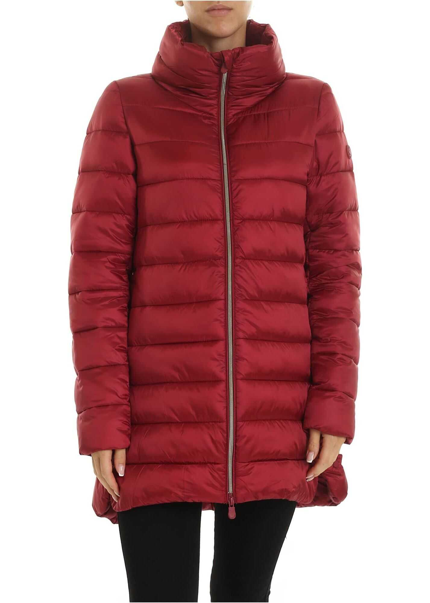 Save the Duck Down Jacket With Logo Patch In Burgundy Red