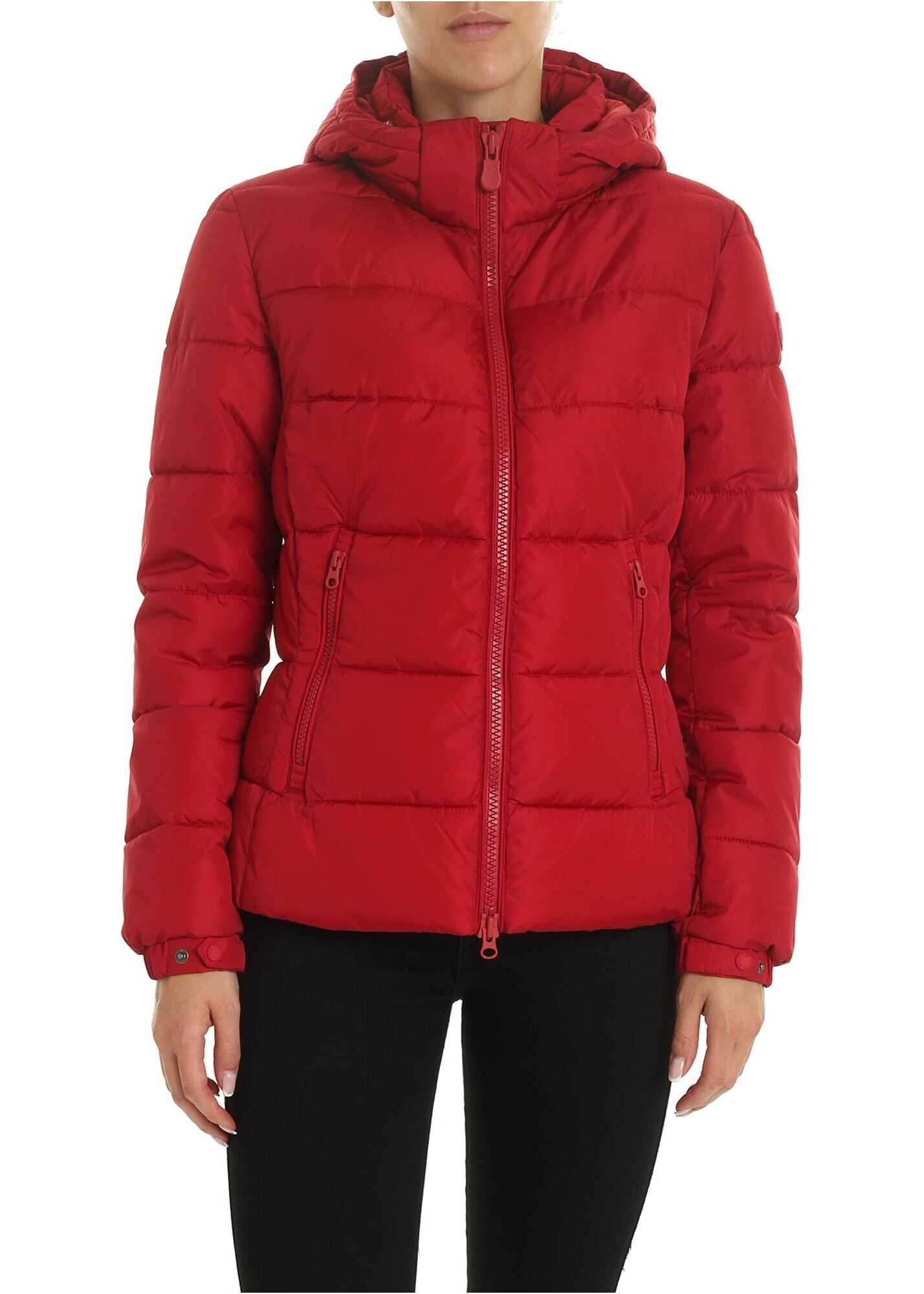 Save the Duck Logo Patch Down Jacket In Red Red