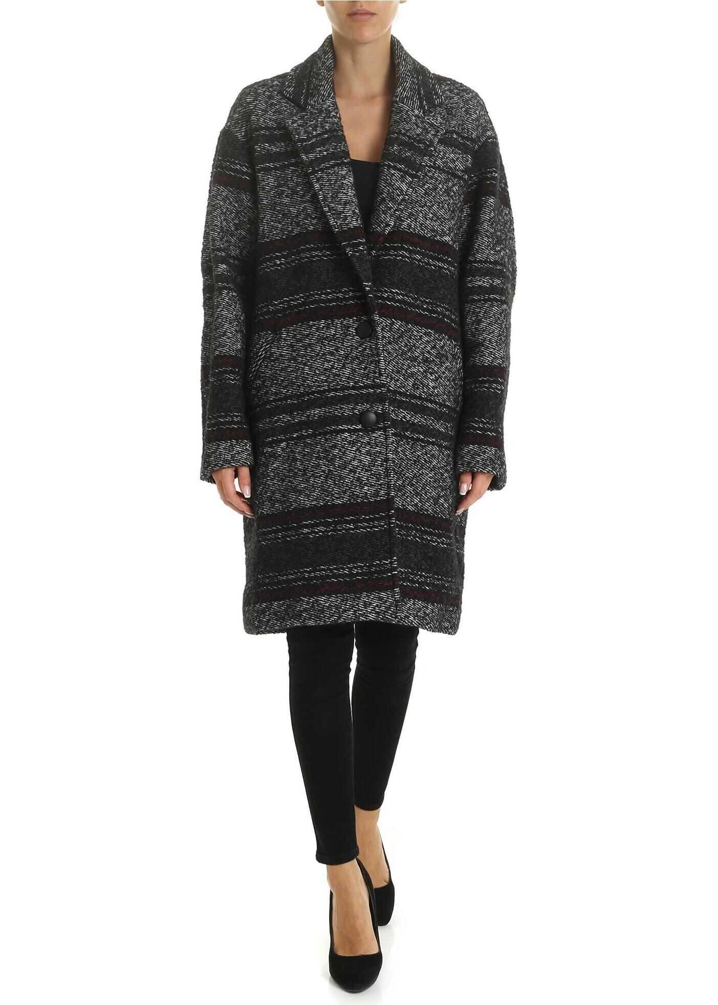 Dante Coat In Black Harringbone With Stripes