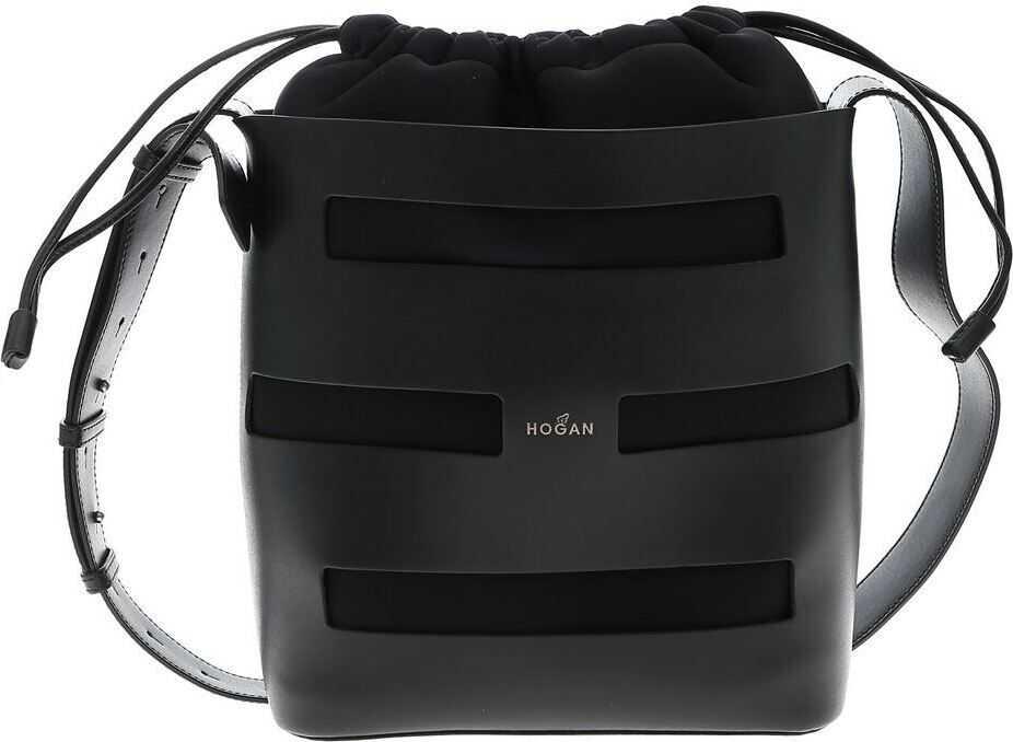 Hogan Medium Bucket Bag In Black Black