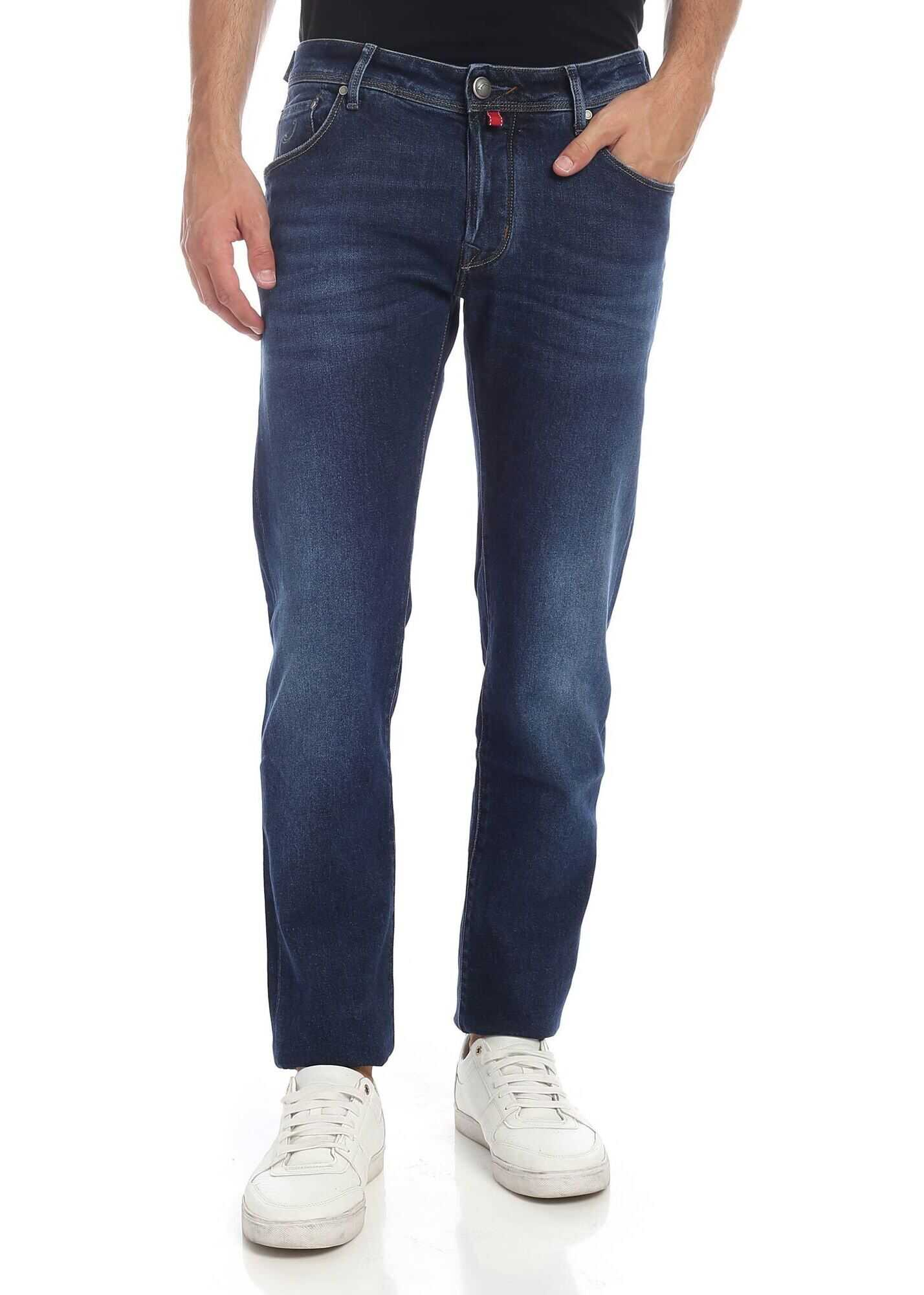 Jacob Cohen Jeans In Indigo Blue Color With Red Logo Blue imagine