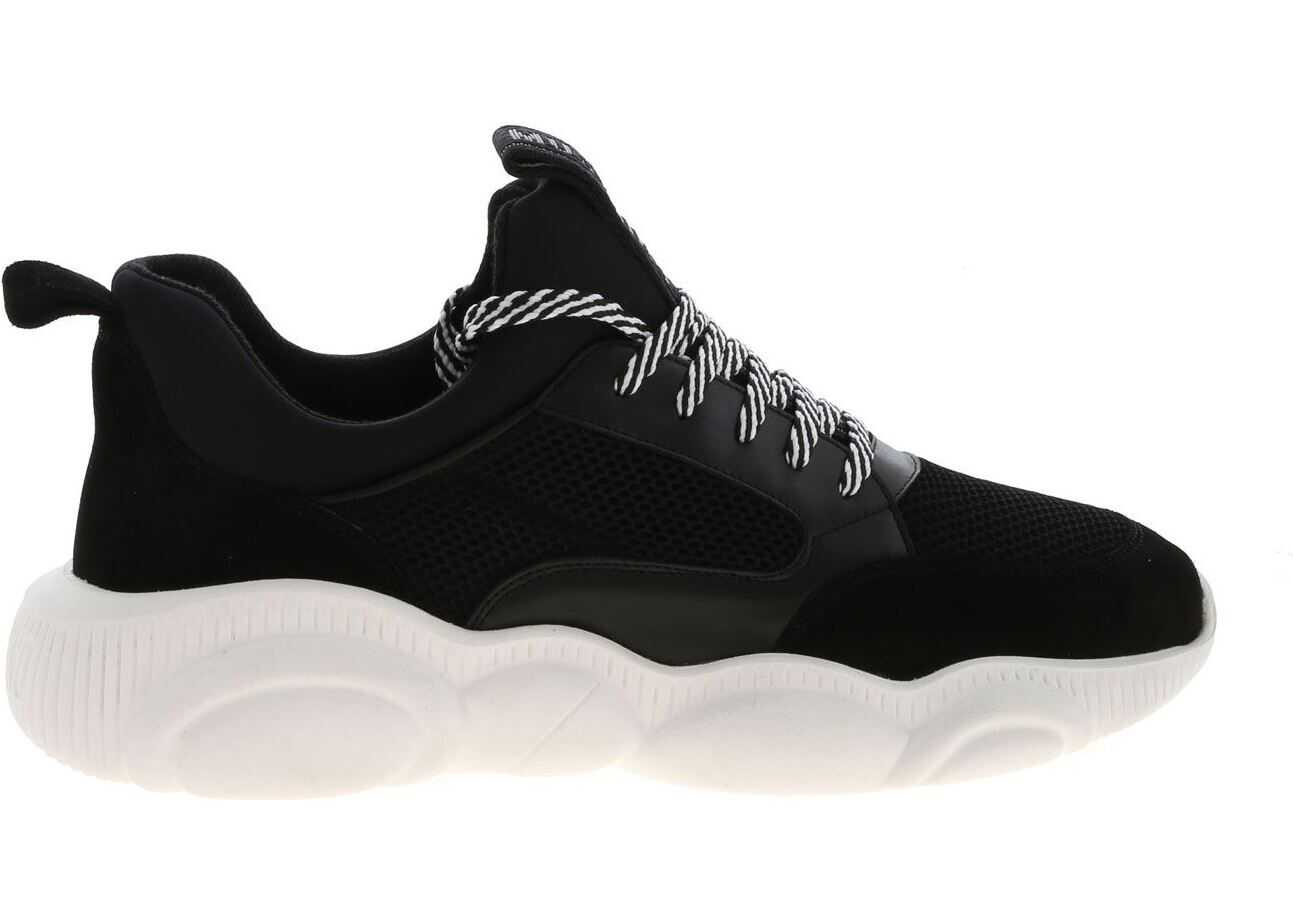 Moschino Teddy Sneakers In Black Black