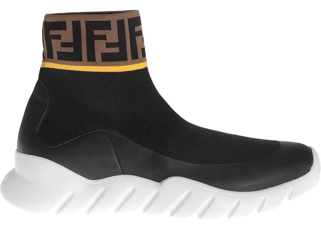 Fendi High Top Sneakers In Black Tech Fabric Black