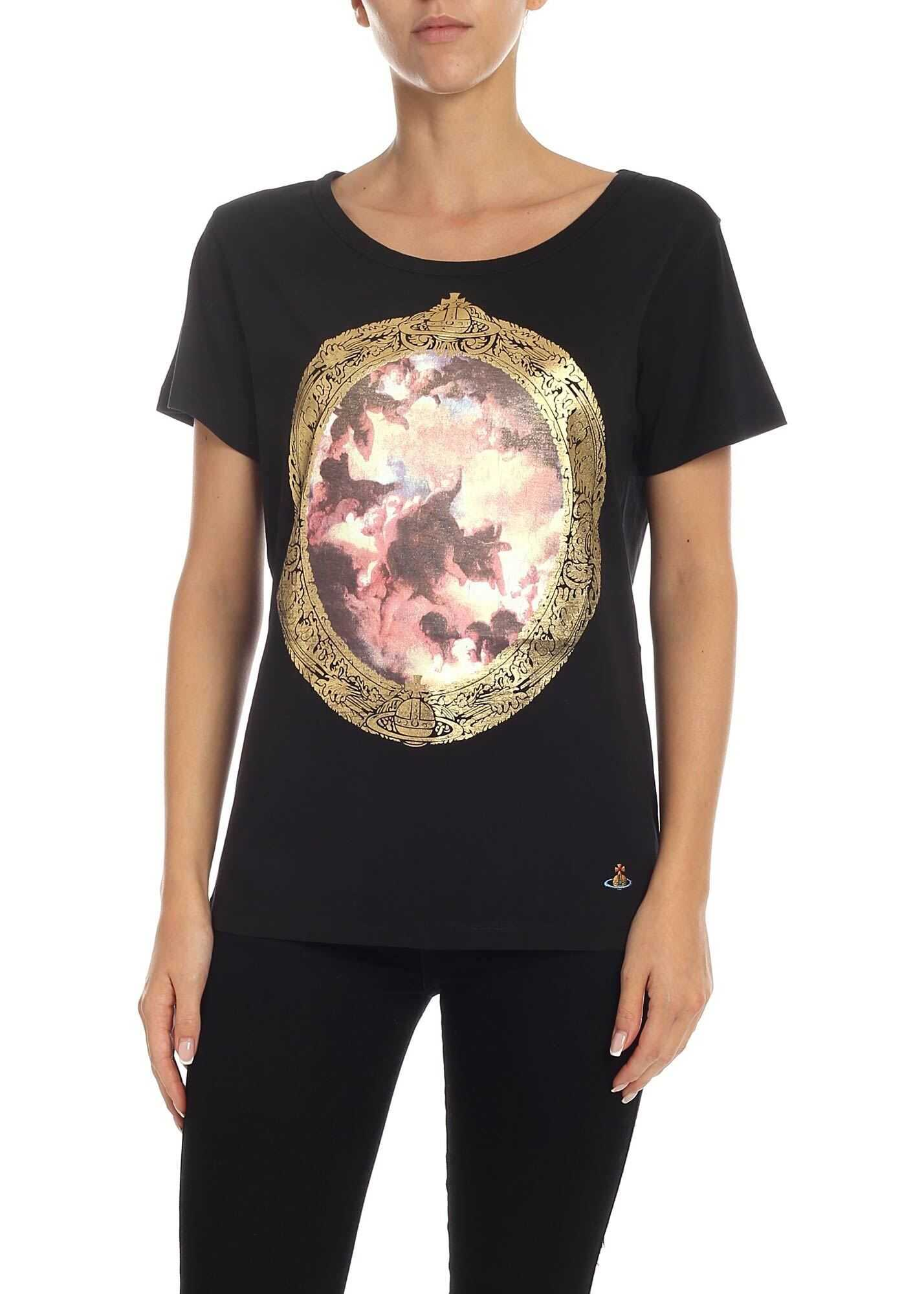 Vivienne Westwood Cotton T-Shirt With Putti Print Black