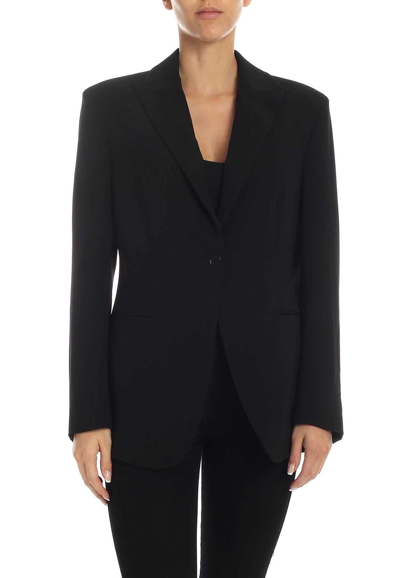 P.A.R.O.S.H. Single-Breasted Jacket In Black Cady Black