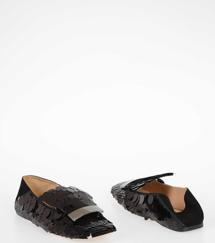 Sergio Rossi Sequin Ballet Flat BLACK