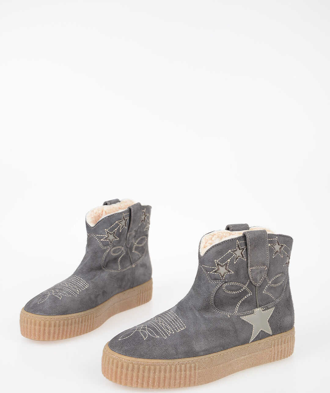 Golden Goose Suede Leather Ankle Boots DARK GRAY