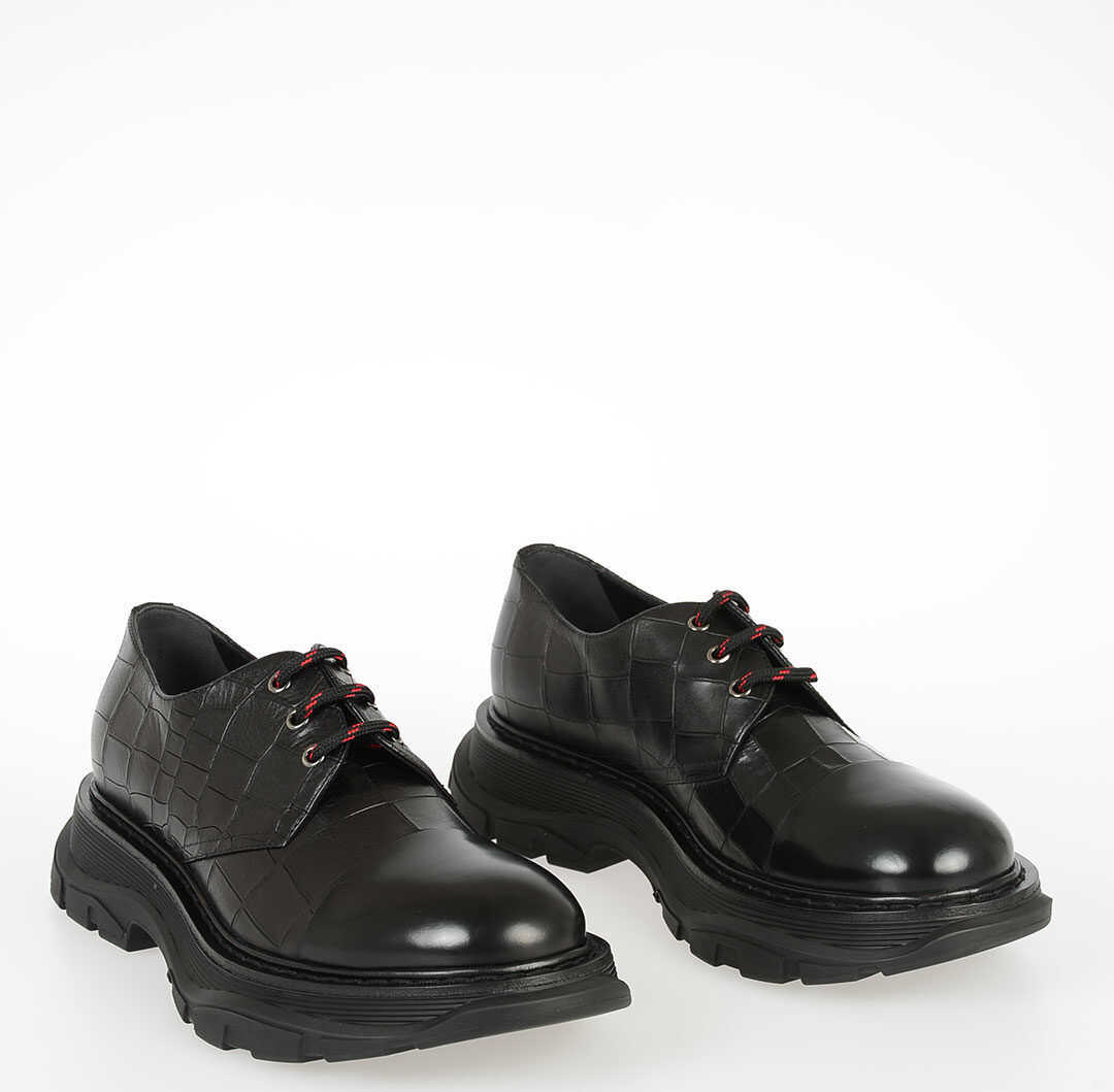Alexander McQueen Printed Leather Laced Shoes BLACK