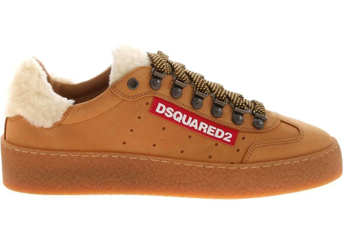 DSQUARED2 Ted Sneakers In Leather Color Brown