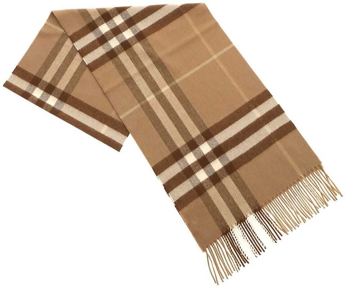 Burberry Giant Check Mid Camel Scarf In Brown Brown