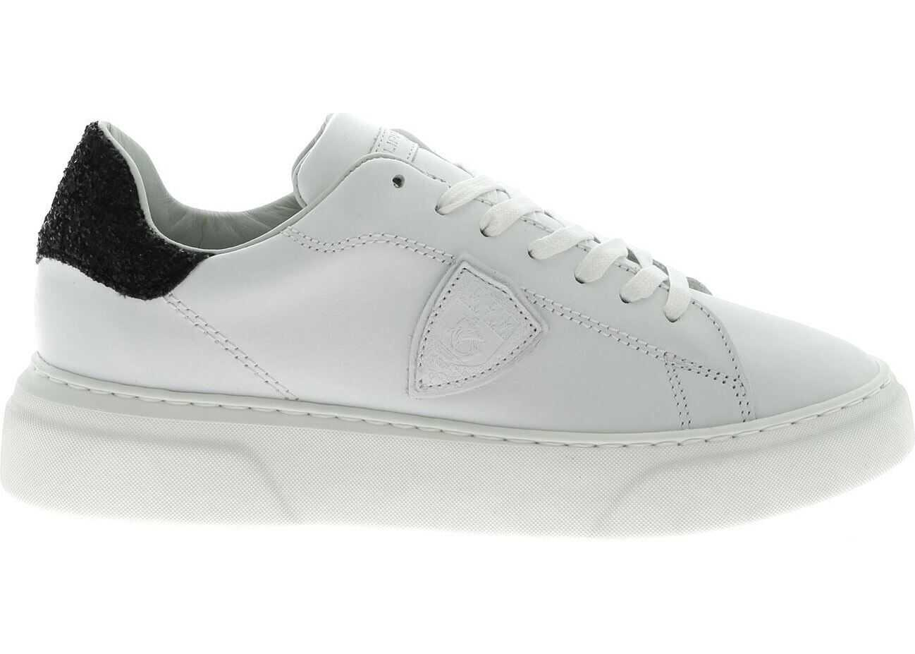 Philippe Model Temple L White Sneakers With Black Glitter White