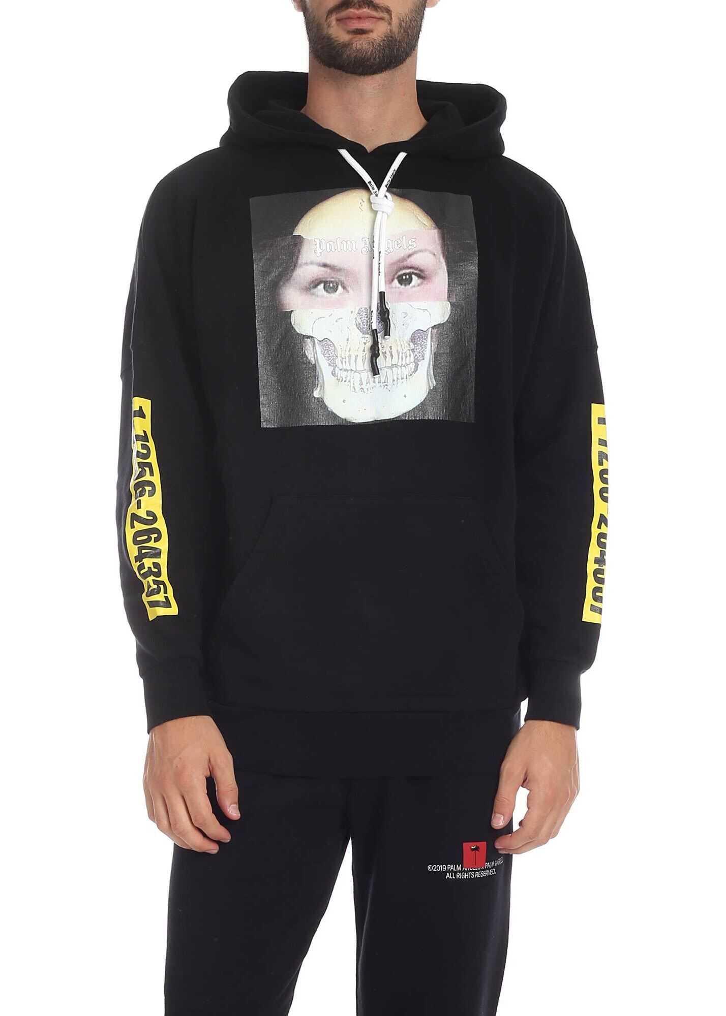 Palm Angels Mj Hoody Sweatshirt In Black Black